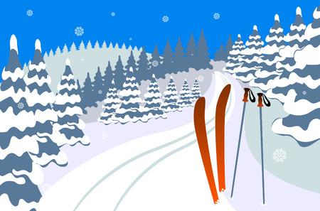 Winterlandschap met sneeuw, bomen en hemelen