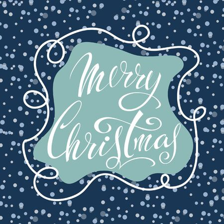 Merry Christmas. Congratulatory Christmas poster with lettering on a blue background with snowflakes. Иллюстрация