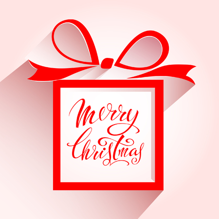 Merry Christmas. Gift in a red box with bow and ribbons. Littering design Çizim