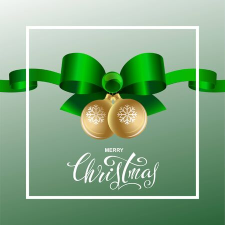 New year green bow with ribbons on green background