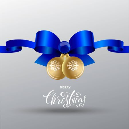 Christmas blue bow with ribbons and gold glass Christmas balls. lettering design Çizim