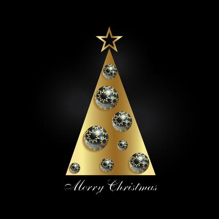 Stylized Christmas tree with balls on a black background Çizim