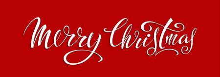 Merry Christmas. The inscription on a red background Çizim