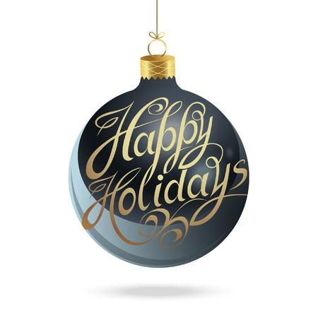 Happy Holidays. Blue Christmas glass ball