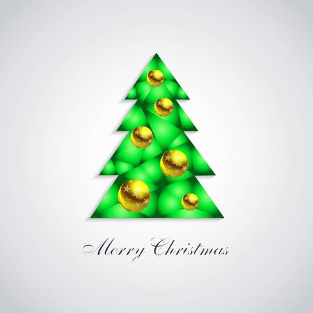 Stylized green Christmas tree with glass white balls and gold stars