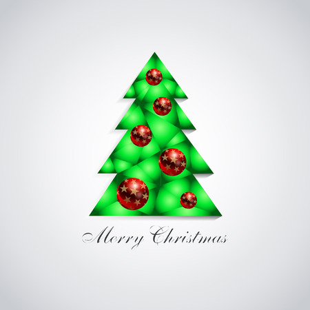 Stylized green Christmas tree with glass red balls and gold stars