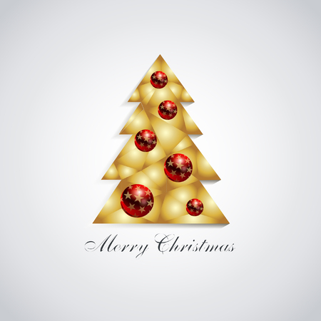 Stylized Christmas tree with red balls Çizim