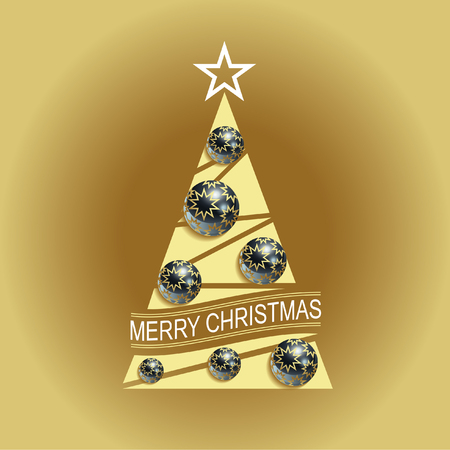 Stylized Christmas tree with glass balls and realistic gold stars.