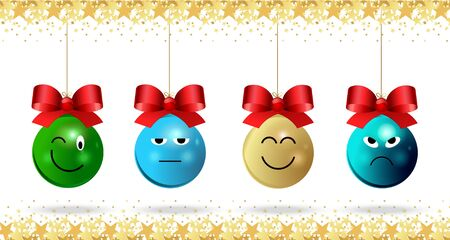 Christmas emoticons with red bows