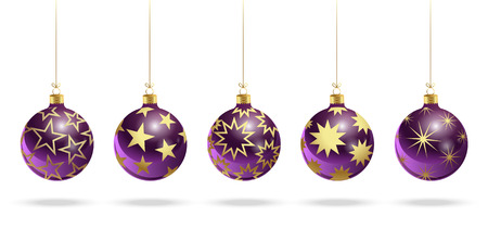 Purple Christmas balls with stars. Set of isolated realistic scenery. Vector illustration.