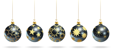 Blue Christmas balls with gold stars. Set of isolated realistic scenery. Vector illustration.