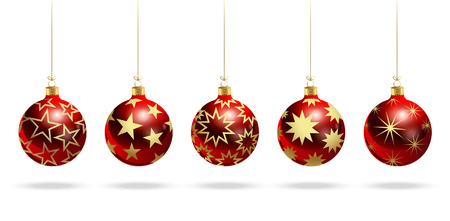Red christmas balls with stars. Set of isolated realistic scenery. Vector illustration.