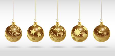 Golden christmas balls with stars. Set of isolated realistic scenery. Vector illustration.
