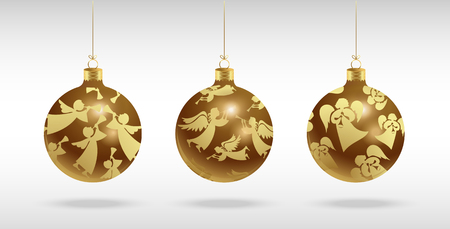 Christmas tree balls with gold angels