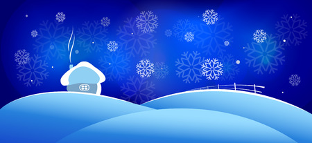 Winter Christmas landscape with house, snow and snowflakes