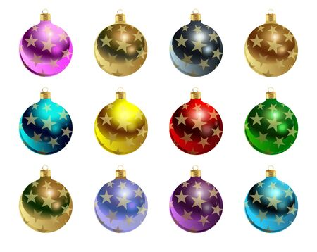 Colorful Christmas balls with gold stars. Set of isolated realistic scenery. Vector illustration. Çizim