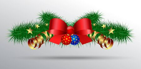 Christmas decoration with fir branches, balls and silk red bows and stars and serpentine