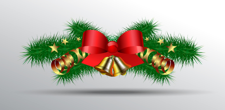 Christmas decoration with fir branches, golden balls and bells, silk red bows and stars and serpentine Çizim