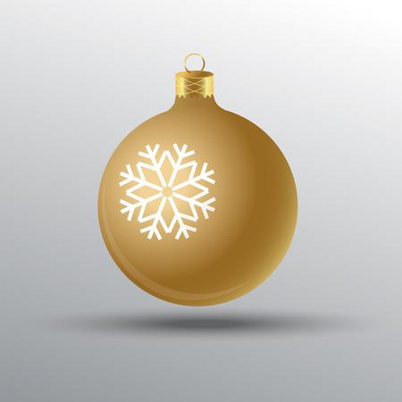 Christmas golden tree ball with snowflake