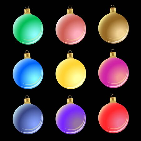 Set of Christmas balls on black background