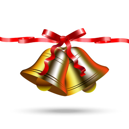 Christmas golden bells with red silk bow with ribbons Çizim
