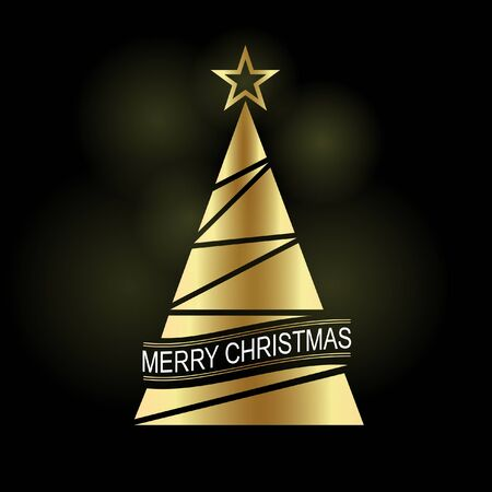 Gold Christmas tree with a star. Christmas poster