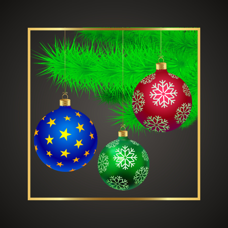Spruce branches with New Year's beautiful glass balls Çizim
