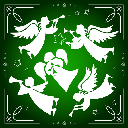 Set of Christmas angels on a green background with white snowflakes Çizim