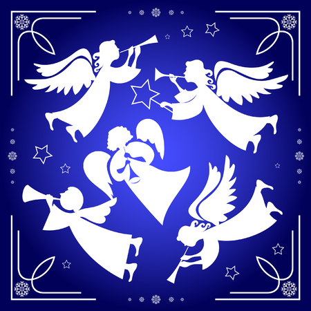 Set of Christmas angels on a blue background with white snowflakes
