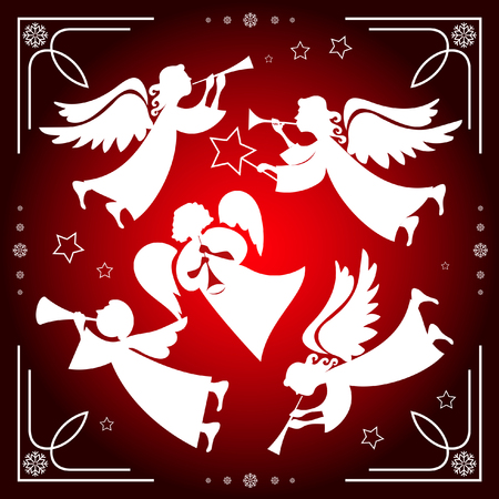Set of Christmas angels on a red background with white snowflakes