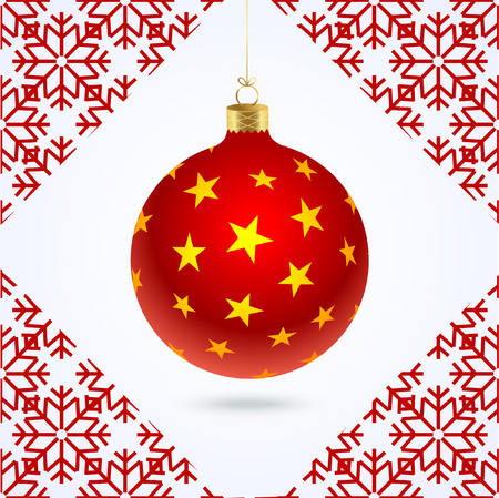Christmas red tree ball with yellow stars and red pattern of snowflakes