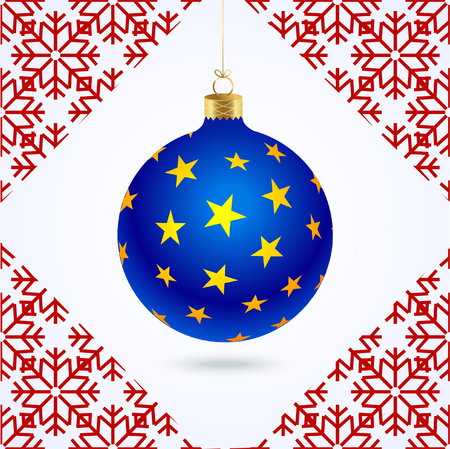 New blue Christmas ball with yellow stars and red pattern of snowflakes