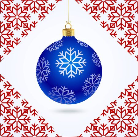 New year blue Christmas tree with snowflakes and red pattern of snowflakes