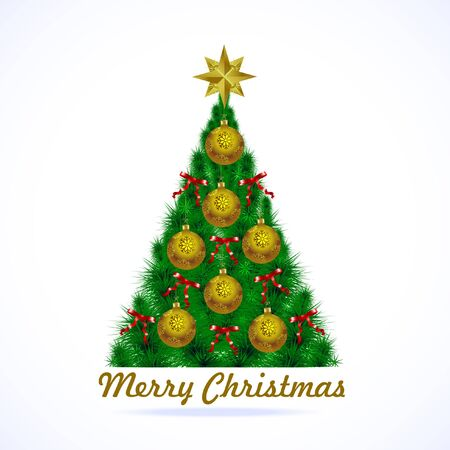 Christmas tree with gold balls Christmas holiday toys and Christmas festive gold star and red silk ribbons with bows Çizim
