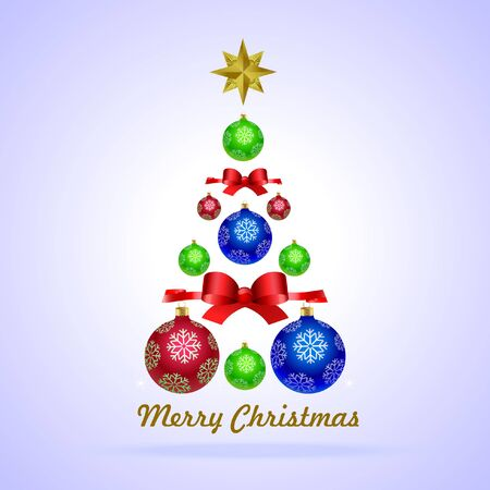 Christmas tree with Christmas balls, balls and gold Christmas star with red ribbons of red ribbons Çizim