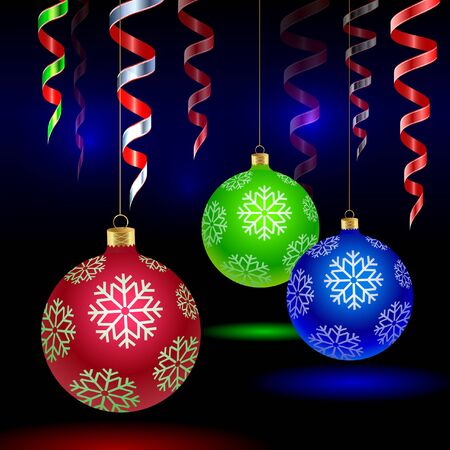 Christmas tree colored balls with snowflakes and streamer Çizim
