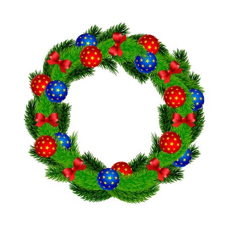Christmas fir wreath with red bows and ribbons Christmas decorations with stars balloons