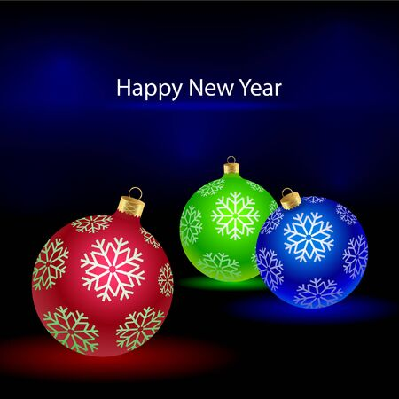 Christmas tree colored balls with snowflakes Çizim