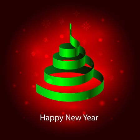 Happy New Year. Christmas tree made of green festive Christmas ribbons