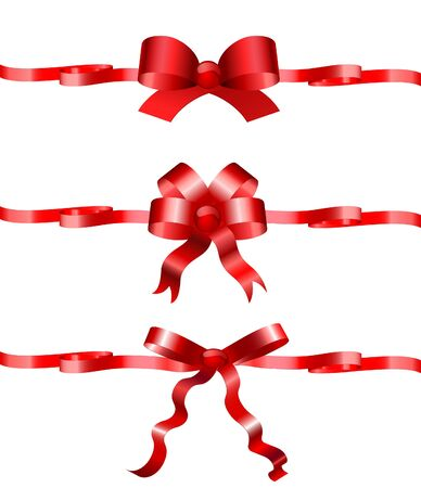 Set of holiday bows with ribbons to the birthday and celebrations