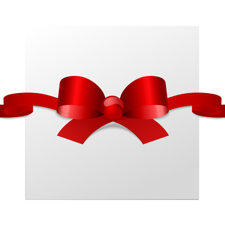 Festive red bow with a ribbon for the birthday and celebrations
