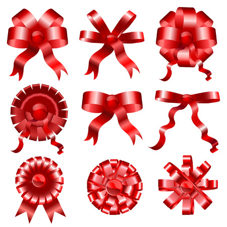 Set of celebratory red bows ribbons for celebrations
