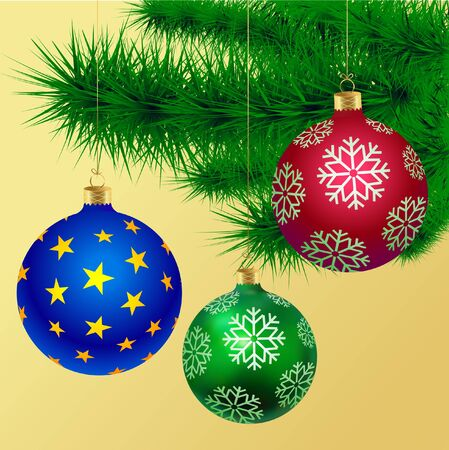 Happy New Year. Colored Christmas balls with snowflakes and green fir branches. Christmas New Year poster.