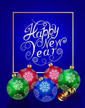 Happy New Year. Colored Christmas balls with snowflakes and gold serpentine on a cool blue background. Christmas New Year poster.
