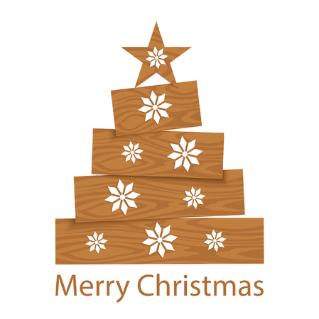 Stylized Christmas tree with a star and white snowflakes Çizim