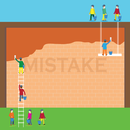 rectify: The word mistake covered with cement plaster on brick wall. Concept  vector illustration.