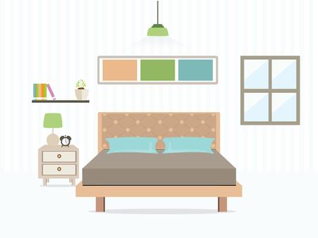 フラット デザイン ダブルベッド ルーム 1室、ベッドルームのインテリア ベクトル図です。  イラスト・ベクター素材