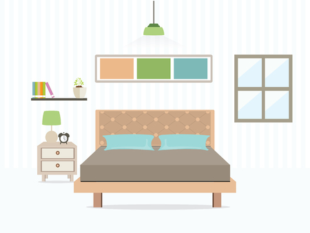 Flat Design Double Bedroom, slaapkamer interieur, Vector illustratie.