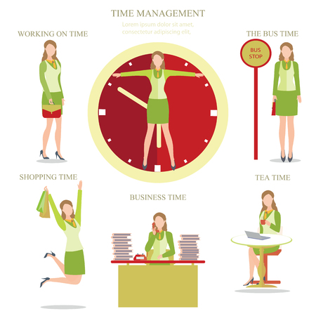 the businesswoman: Businesswoman in various character with Time management, walking on time, the bus time, business time, tea time, shopping time, Vector illustration.
