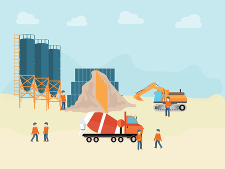 Industrial Cement Processing Plant with man worker, vector illustration.